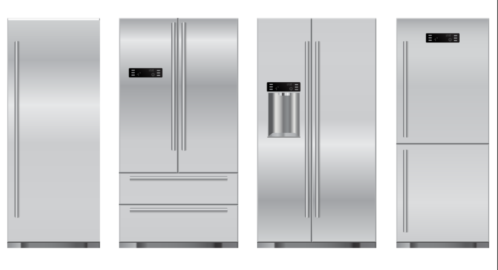 four different kinds of residential refrigerators