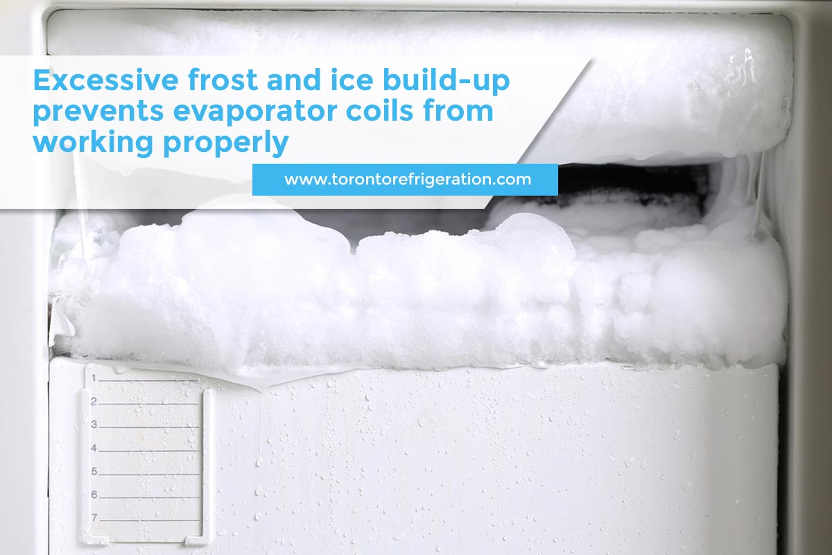 Excessive frost and ice build-up prevents evaporator coils from working properly