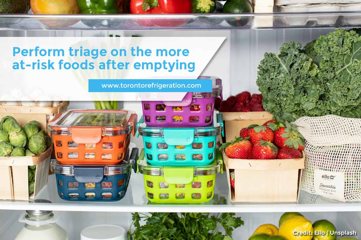 Perform triage on the more at-risk foods after emptying